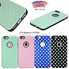 For Apple iPhone 6/6S Plus Hybrid Soft Rubber Hard TPU Polka-dot Case Cover NEW