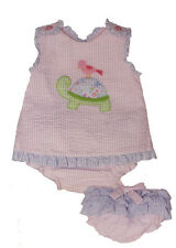 Girls Infant Pink & Blue Seersucker Turtle Panty Set Zu by Petit Ami NWT