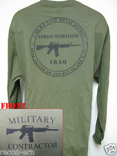PRIVATE MILITARY CONTRACTOR LONG SLEEVE T-SHIRT/  IRAQ COMBAT OPS/ NEW