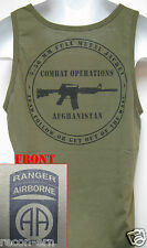 82ND AIRBORNE RANGER od green TANK TOP T-SHIRT/ AFGHANISTAN COMBAT OPS/ NEW