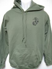 USMC HOODED SWEATSHIRT/ MILITARY OD GREEN COLOR/ HOODIE/ NEW