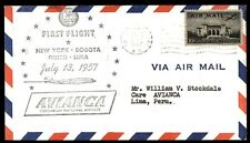 NEW YORK NY JUL 15 1957 FFC AVIANCA CACHET ON COVER TO LIMA PERU W/ BACK STAMP