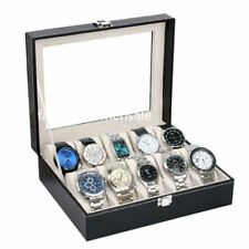 New Leather Watch Display Case Jewelry Collection Storage Box 10 Grid DE