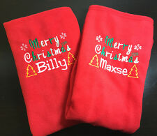Personalised Embroidered with ANY NAME Christmas Xmas Cute Fleece Baby Blanket