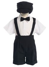 Boys Black Suspender Short Set with Hat Wedding by Lito Toddler NWT