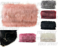Ladies Fluffy Designer Feather Clutch Faux Fur Bag Purse With Chain Runway Flap