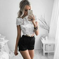Summer Women's Short Sleeve Elegant Crochet Lace Crop Top Hollow Out Tank Tops