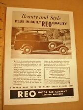 1935 Automotive Print Ad Advertising REO Speedwagon Panel Truck Lansing Michigan