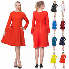 WOMEN'S ELEGANT WEAR TO WORK DRESS OFFICE BUSINESS CLASSY RETRO MIDI TEA DRESSES