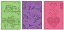 2017 Assorted Colours Pocket Diary Week to view Embossed Green Purple Pink