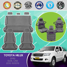 HEAVY-DUTY CANVAS SEAT COVERS CUSTOM FIT TOYOTA HILUX DUAL CAB SR5 2010- 10/2015