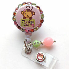 PERSONALIZED GIRLY MONKEY BLING RETRACTABLE ID BADGE HOLDER LANYARD