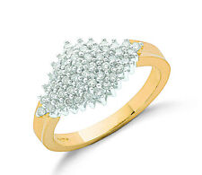 9k Yellow Gold 0.50ct Diamond Cluster Ring - British Made - Hallmarked Size K-S