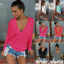 New Womens Long Sleeve Blouse V Neck Loose Knitted Sweatshirt Ladies Jumper Tops