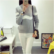 Knitwear Thick Knitted Women Sweater Pullover Long Sleeve Round Neck Rabbit Hair