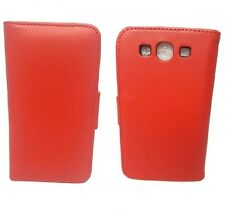 PU Red Leather Wallet Case Cover Card Slots & Stand for Samsung Galaxy S3 III