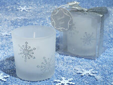 Winter Snowflake Silver Glitter Glass Votive Tea Light Candle Wedding Favor