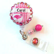 PERSONALIZED FLAMINGO BLING RETRACTABLE ID BADGE HOLDER LANYARD