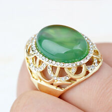 Fashion Noble Women 18K Gold Plated Green Agate Ring Jewelry Party Gift
