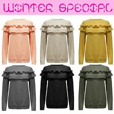 Ladies Womens CHUNKY Patch FRILL Detail Long Sleeves Knitted Jumper Sweat TOP