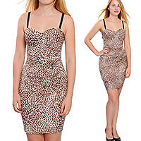 BODYCON BUSTIER MINI DRESS LEOPARD COCKTAIL EVENING PARTY CLUB DRESSES A1861