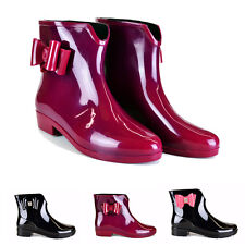 LADIES WOMENS BOW WELLINGTON ANKLE BOOTS WELLIES RAIN SNOW  BLACK / RED WITH BOW