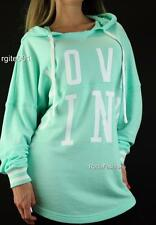 Victoria's Secret Love PINK Tunic Hoodie Logo Sweatshirt Graphic Pullover Mint