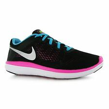 Nike Flex 2016 Run Trainers Junior Girls Black/Volt/Blue Sports Shoes Sneakers