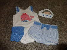 GYMBOREE 6-12 BUBBLY WHALE ONE PIECE SHORTS SOCKS AND NWT HEADBAND