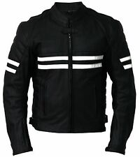 WHITE-STRIPE MEN LEATHER JACKET MOTORCYCLE BIKER JACKET MOTORBIKE LEATHER JACKET