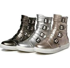 womens skate board zip up buckle shoes high top boots plus size