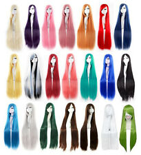 100 cm Long 24 Colors Straight Doll Display Party Cosplay Anime Wig Free Wig Cap