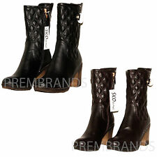 NEW WOMENS LADIES BLOCK MID HIGH HEEL SLOUCH SMART PULL ON CALF ANKLE BOOTS 3 -8