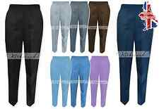 NEW LADIES HALF ELASTICATED TROUSERS PLUS SIZE POCKETS WORK WEAR WOMENS 8 - 30