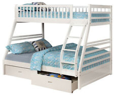 White Twin over Full Bunk Bed with Storage Drawers