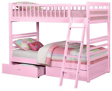 Pink Twin over Twin Bunk Bed with Storage Drawers
