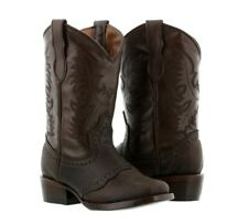 boys kids chocolate brown real leather youth western cowboy boots square toe