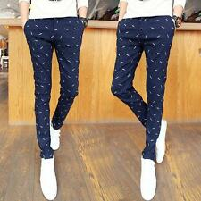 Fashion Mens printing slim fit Trousers Casual dress pencil Pants new