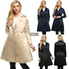 Notched Collar Long Swing Women High Waist Trench Coat with Belt Spring KECP