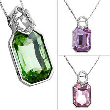 Hot Fashion Women European Style Crystal Square Shape  Zircon Necklace F5