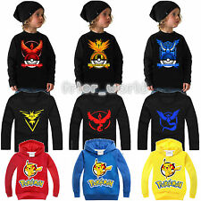 Kids Boys Girls Long Sleeve T-shirt Anime Pokemon Pikachu Pokeball Hoodies Tops