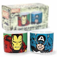 New Marvel Comics Set Of 2 Iron Man & Captain America Egg Cups Avengers Official