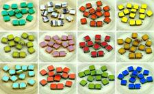 Picasso Table Cut Rustic Square Flat Czech Glass Beads 10mm 10pcs