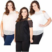 New Ladies Cut Out Sleeve Off Shoulder Lace Top 16-26