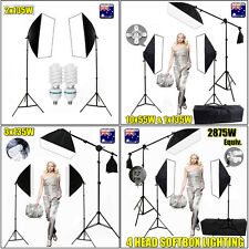 Photo 135W/55W Soft Box Continuous Softbox Lighting Boom Arm Light Stand Kit NEW