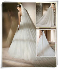New White/Ivory Long 2 Layers 3M Cathedral Bridal Wedding Veil With Comb