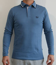 Men's Slim-Fit Twin Tripped Blue Interlock Long Sleeve Polo Shirt FRED PERRY