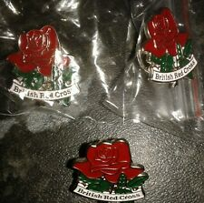 x3 New British Red Cross Pin Badges (Red Rose Emblem) e