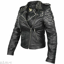 B932 Xelement Womens Classic Black Leather Rebel Stud motorcycle Jacket