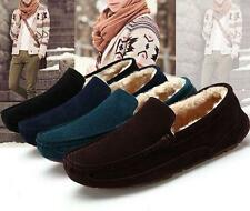 Mens winter fur lined slip on driving shoes flat loafers warm moccasin gommino